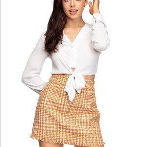 boutique Skirts - MINI PLAID PENCIL BOUCLE SKIRT